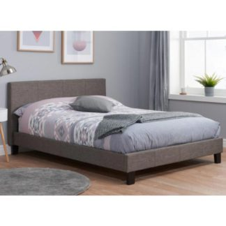 An Image of Berlin Fabric King Size Bed In Grey