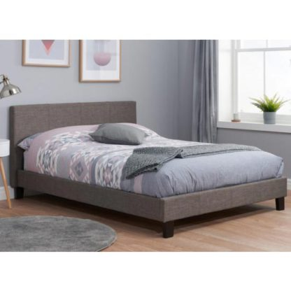 An Image of Berlin Fabric Double Bed In Grey