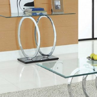 An Image of Olympus Clear Glass Console Table With Black Gloss Base