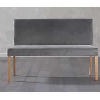 An Image of Birlea Dining Bench Large In Grey Plush Velvet With Back Rest