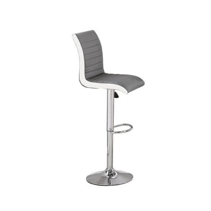 An Image of Ritz Bar Stool In Grey And White Faux Leather With Chrome Base