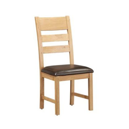 An Image of Heaton Ladder Back Dining Chair In Rustic Light Oak