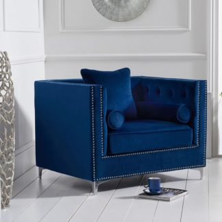 An Image of Mulberry Modern Fabric Sofa Chair In Blue Velvet