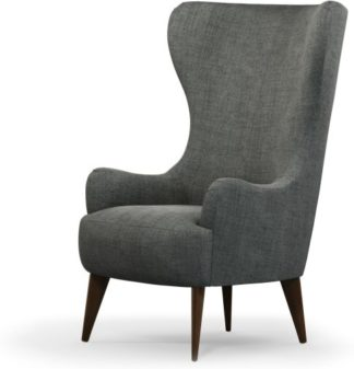An Image of Custom MADE Bodil Accent Armchair, Steel Grey Velvet with Dark Wood Leg