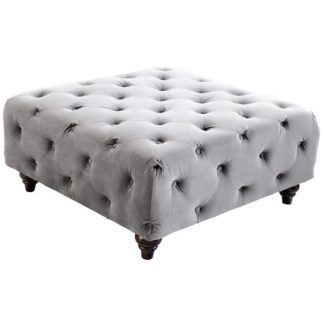 An Image of Chetek Crushed Velvet Ottoman In Grey With Woodent Legs