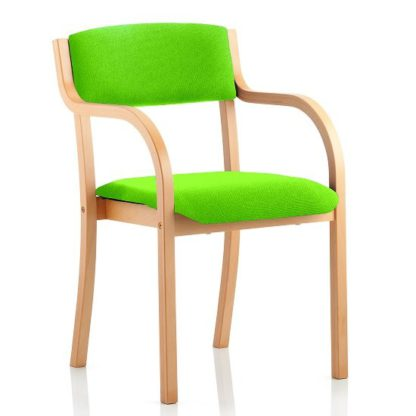 An Image of Charles Office Chair In Green And Wooden Frame With Arms