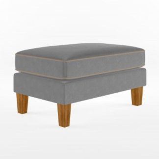 An Image of Bowen Fabric Ottoman with Contrast Welting In Linen Grey