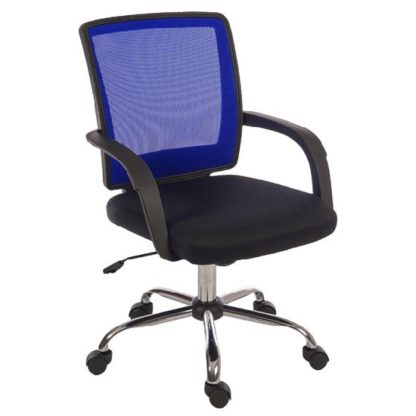 An Image of Fenton Home Office Chair in Black With Blue Mesh Back