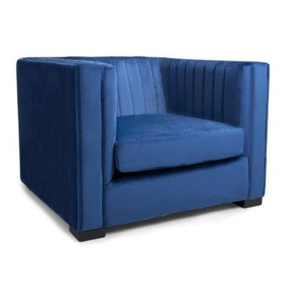 An Image of Victoria Brushed Velvet Armchair In Ocean Blue