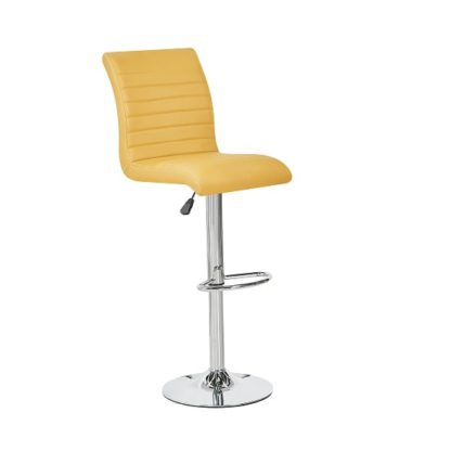 An Image of Ripple Bar Stool In Curry Faux Leather With Chrome Base