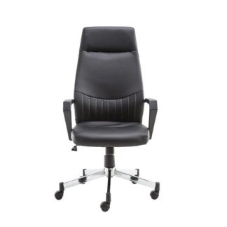 An Image of Downing High Back Faux Leather office Chair In Black