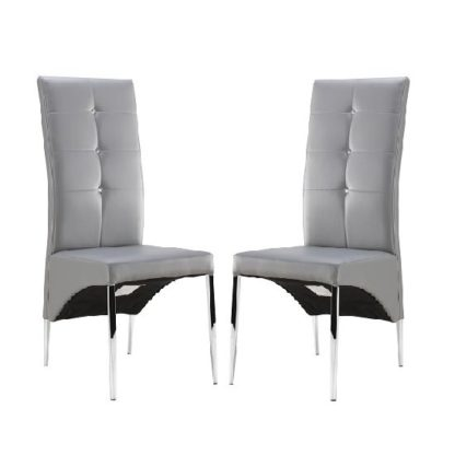 An Image of Vesta Dining Chair In Grey Faux Leather In A Pair