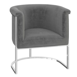An Image of Martina Velvet Fabric Lounge Chair In Silver Grey