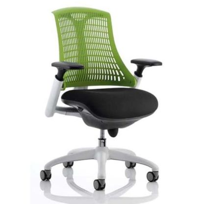 An Image of Flex Task Office Chair In White Frame With Green Back