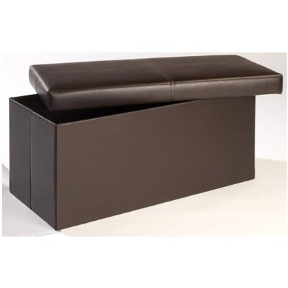 An Image of Madrid Large Storage Ottoman In Brown
