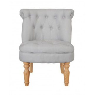An Image of Carlos Boudoir Style Chair In Blue Fabric With Linen Effect