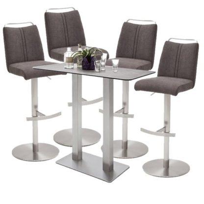 An Image of Soho Glass Bar Table With 4 Giulia Brown Fabric Stools
