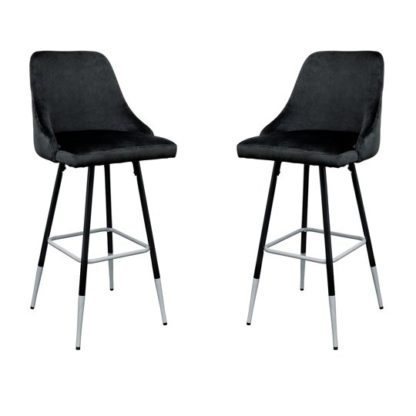 An Image of Fiona Black Fabric Bar Stool In Pair