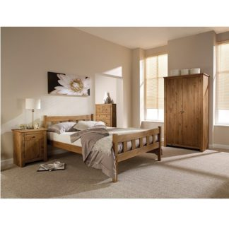 An Image of Pascal Wooden King Size Bed In Pine Finish