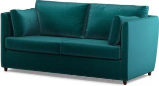 An Image of Custom MADE Milner Sofa Bed with Memory Foam Mattress, Tuscan Teal Velvet