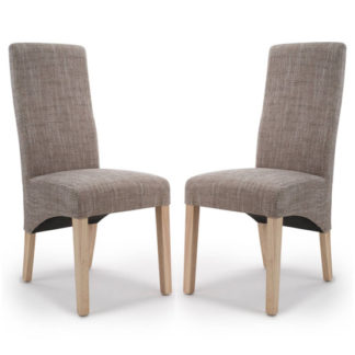 An Image of Baxter Oatmeal Wave Back Tweed Dining Chair In A Pair
