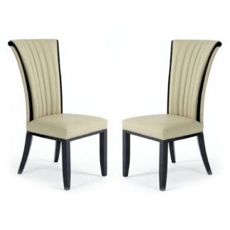 An Image of Horizon Dining Chair In Cream Bonded Leather In A Pair