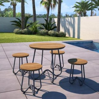 An Image of Novogratz Bobbi Bistro Set In Charcoal Grey With 4 Stools