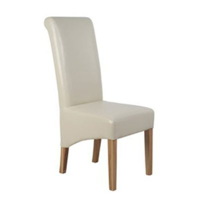 An Image of Parson Faux leather Cream Dining Chair