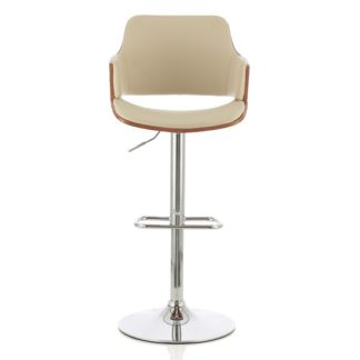 An Image of Finnley Bar Stool In Walnut And Cream PU With Chrome Base