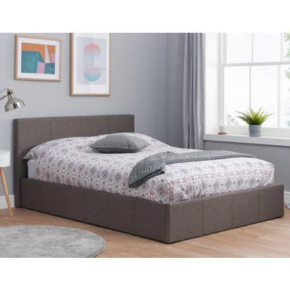 An Image of Berlin Fabric Ottoman Small Double Bed In Grey