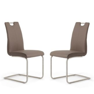 An Image of Harley Dining Chair In Brown Faux Leather In A Pair