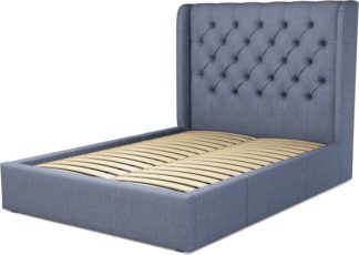 An Image of Custom MADE Romare Double size Bed with Drawers, Denim Cotton