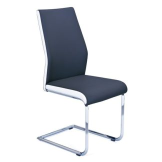 An Image of Marine Dining Chair In Black And White PU With Chrome Base