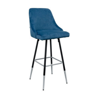 An Image of Fiona Blue Fabric Bar Stool With Metal Legs