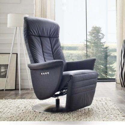 An Image of Saltos Relaxing Chair In Black Leather With Stainless Steel Base