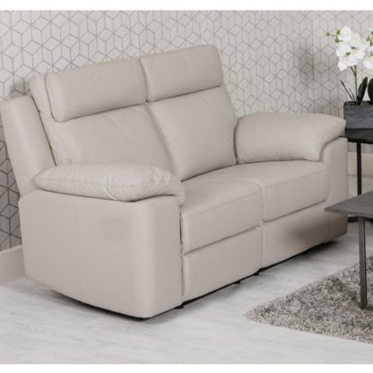 An Image of Enzo Faux Leather Fixed 2 Seater Sofa In Putty