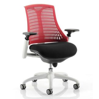 An Image of Flex Task Office Chair In White Frame With Red Back
