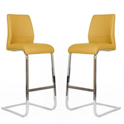 An Image of Presto Bar Stool In Ochre PU With Chrome Legs In A Pair