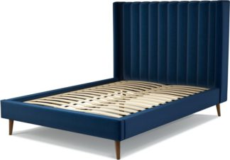An Image of Custom MADE Cory Double size Bed, Regal Blue Velvet with Walnut Stained Oak Legs