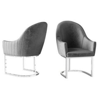An Image of Viola Dark Grey Velvet Fabric Dining Chairs In Pair