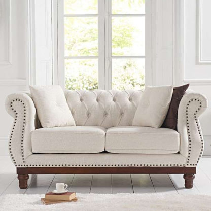 An Image of Morava Linen 2 Seater Sofa In Ivory