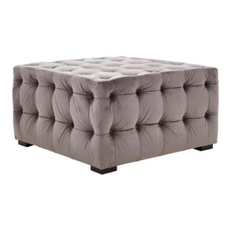 An Image of Poerava Velvet Button Tufted Footstool In Grey