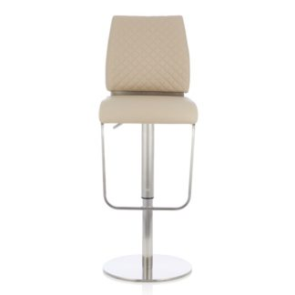 An Image of Lillian Bar Stool In Taupe Faux Leather And Stainless Steel Base