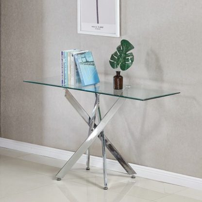 An Image of Daytona Glass Console Table Rectangular In Clear And Chrome Legs