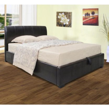 An Image of Savona Faux Leather Storage Double Bed In Black