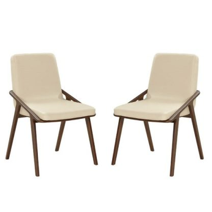 An Image of Webstar Dining Chair In Cream And Ash With Wooden Legs In A Pair