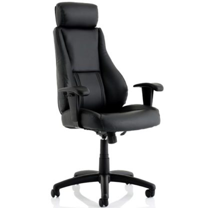 An Image of Winsor Leather Office Chair In Black With Headrest