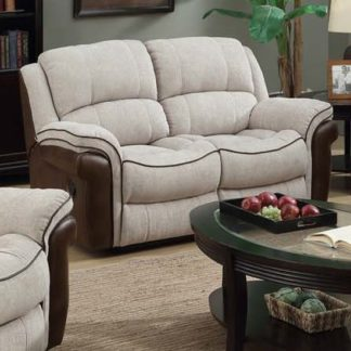 An Image of Lerna Fusion Fabric 2 Seater Sofa In Mink