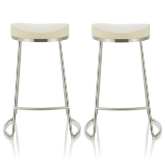 An Image of Seraphina Bar Stool In Cream Faux Leather In A Pair