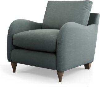An Image of Custom MADE Sofia Armchair, Athena Dark Grey with Light Wood Leg